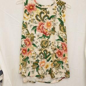 Loft cream sleeveless top with flowers